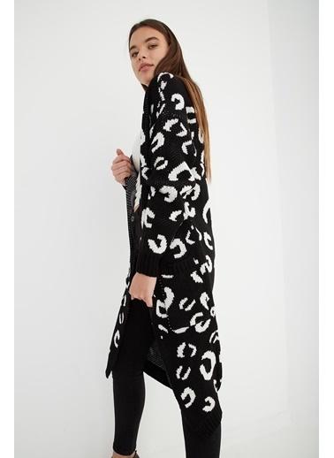 Modaset Desenli Uzun Triko Hırka  Siyah